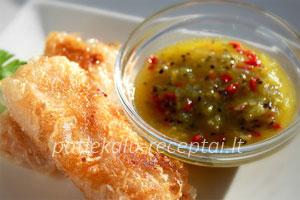 lasisos file ryziu lakstuose su kivi salsa