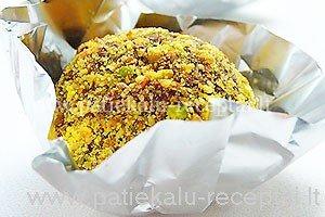 sokoladiniai triufeliai su pistacijomis
