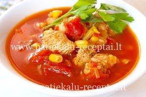 tirsta pomidoru sriuba su kalakutiena